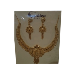 Brass Golden Party Wear Gold Plated Necklace Set, Packaging Type: Box