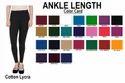 Solid Cotton Lycra Ankle Length Legging