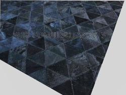 Black SGE Chevron Leather Area Carpets for Home, Hotel