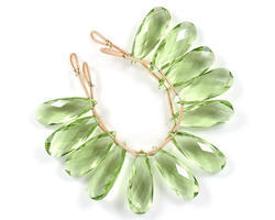 Green Amethyst Quartz Pear Beads