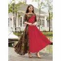 Reyon 16 Kg Anarkali Red Printed Kurtie, Size: M, L, Handwash