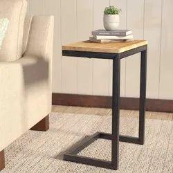 Black Rectangular Wooden Glass Top Tea Table