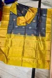 Real Zari Gold Border Designed Handloom Designer Sarees, With Blouse Piece