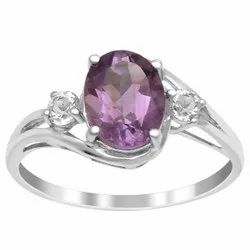 Solitaire Accents 925 Sterling Silver 2.50 Ctw Amethyst Gemstone Wedding Ring