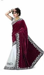 SUMSHY Party Wear Ladies Volvet Saree 5.5 m (separate Blouse Piece)