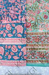 Jaipuri Hand Block Printed Bed Sheet 150 x220cms