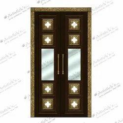 pooja room door with glass