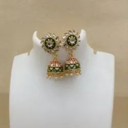 111 Green Orange Kundan Meenakari Earrings