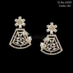 Designer Rose Gold American Diamond Earrings