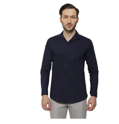 Cotton/Linen Inspire Slim Fit Casual Shirts For Men (Navy Blue)