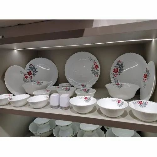 Ceramic Flower Printed White Dinner Set, for Serving, Packaging Type: Box