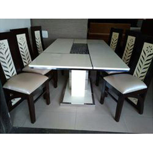 Modern Wooden 6 Seater Stone Dining Table Set For Home Hotel Rs