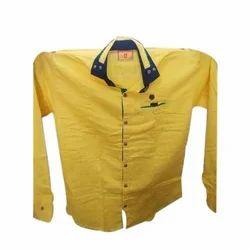 Men Yellow Plain Shirts, Size: Large