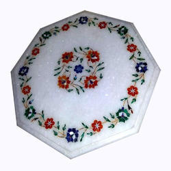 White Marble Inlay Table Tops, Round Marble Dining Table Top