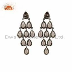 Rhodium Plated Silver Smoky Quartz Gemstone Earrings Jewelry