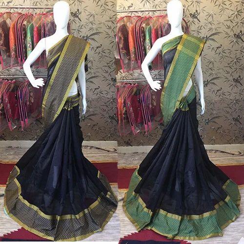 Party Wear Lace Border, Woven  Cotton Silk Saree