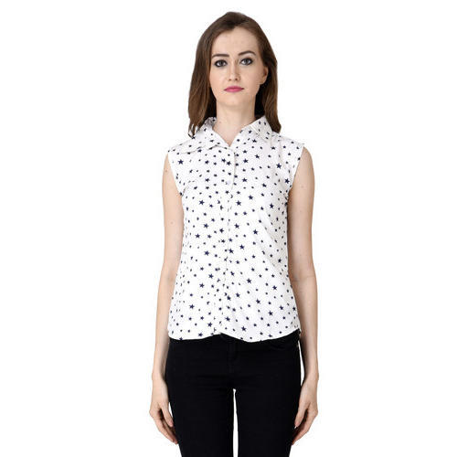 71d58c8f6dcf Small Ladies White Crepe Floral Printed Sleeveless Shirt / Top, Rs ...