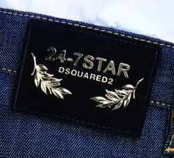 Black leather labels for denim