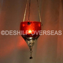 Deshilp Overseas Glass Red T- Light Hanging