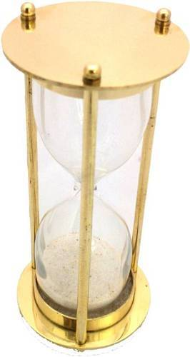 5 Minute Antique Brass Hourglass Decorative Showpiece - 6 Inches Height  (Brass, Gold)