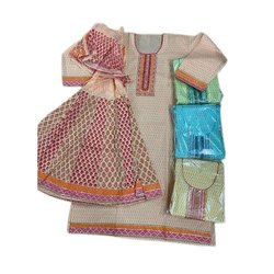 Stitched Ladies Printed Cotton Suit, Handwash