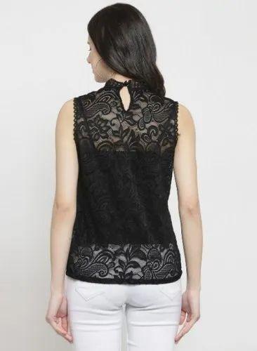 ed5204fb9c369f Black White Global Republic Ladies Lace Cotton Sleeveless Top, Rs ...