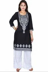 White Embroidered Readymade Palazzo