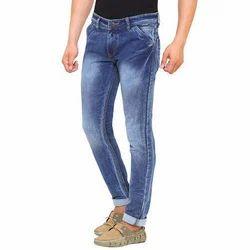 Mens Ice Blue Cotton Jeans