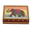 Wooden Gemstone Elephant Painting Box