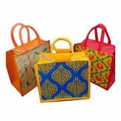 Printed Rope Handle Fancy Jute Shopping Bag, Capacity: 5 Kg, Size: 12 X 12 Inch