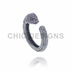 Diamond Snake Cuff Ring