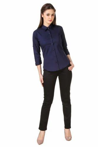 30e14f3f019 Cotton Navy Blue Ladies Formal Shirts