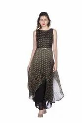 Separate Cap Sleeve Green Ladies Viscose Party Wear Gown