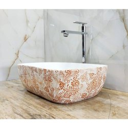 Moonheart Ceramic Designer Printed Table Top Wash Basin, For Bathroom
