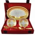 Designer Silver Gold Bowl Tray Set For Wedding Gift
