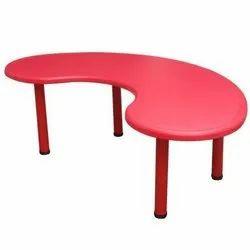 OrangeSlates Red Moon Shape Preschool Plastic Table, For Preschools