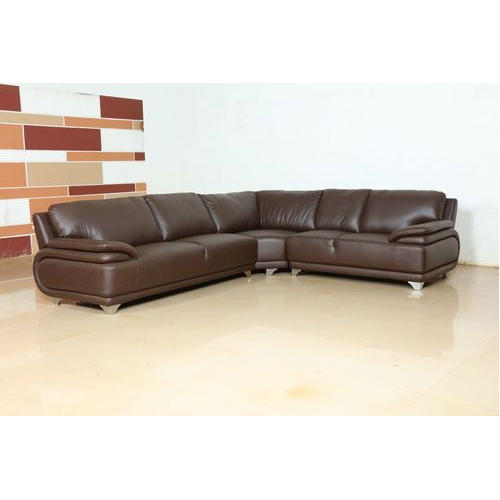 Brown Leather Corner Sofa, Rs 4300 /set, Vogue Furniture Company ...