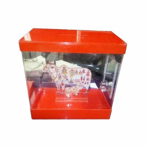 Acrylic Orange Cow Donation Box