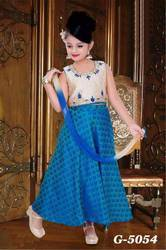 Designer Blue and Off White Kids Lehenga