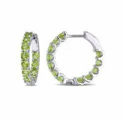 925 Silver Round Peridot Inside Out Hoop Earrings