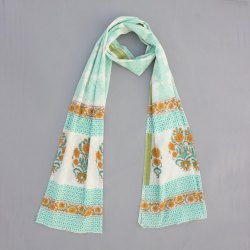 Women Summer Cotton Block Floal White Base Green Print Dupatta Jaipuri Print Stole