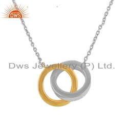 Two Tone Plating Designer Circle Plain Silver Chain Pendants