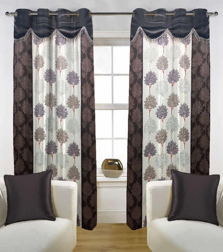 Charmant Fabutex Brown White Beautiful Brown With White Lace Door Curtain 4x7 Ft
