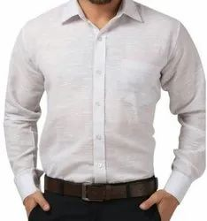 Button Full Sleeves Men'S White Cotton Formal Shirts