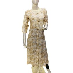 Dress World 3/4th Sleeve Ladies Long Kurti, Size: S