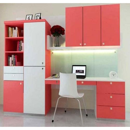 Charming Plywood, Laminate Peach And White Designer Study Table