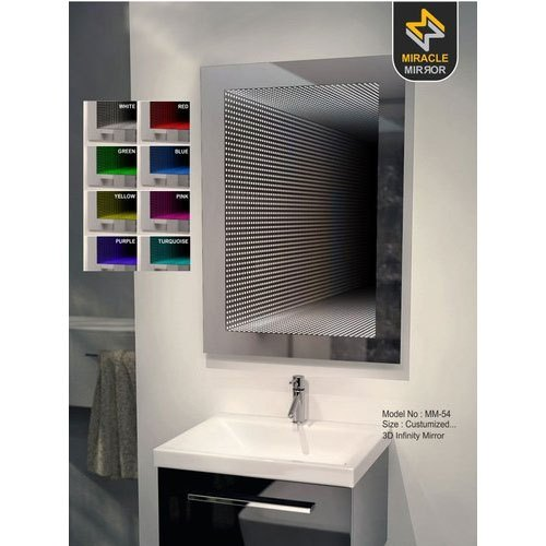 Wall Mounted Glass 3d Infinity Bathroom, Bathroom Infinity Mirror