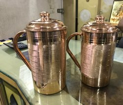 Plain Cylindrical Copper Water Jug, for Hotel, Capacity: 1800ml