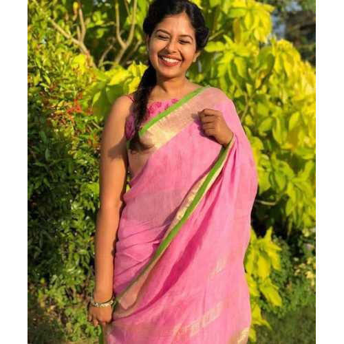 e70d56f45b Ladies Party Wear Pink Fancy Linen Saree