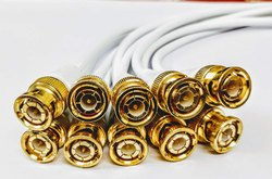 BNC Connector with Copper Wire Moulded - 10 PCS - 18 CM - BNC Golden Male Plug Cable (White)